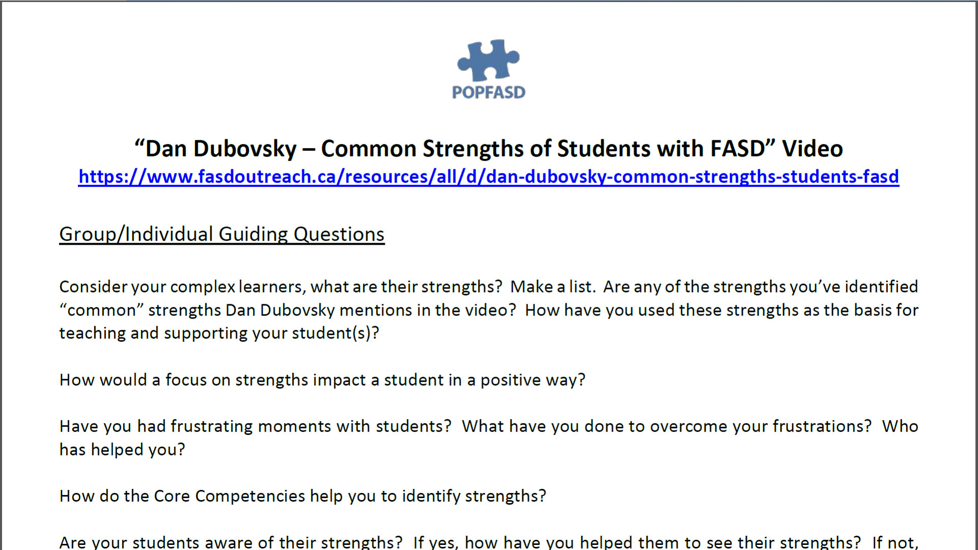 Book and Video Club - Dan Dubovsky Common Strengths of Students with FASD
