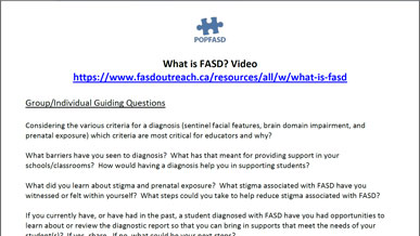 Book and Video Club - What is FASD? Teacher's Version