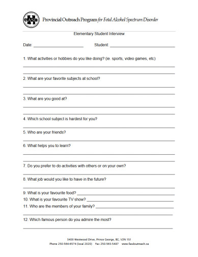 Elementary Student Interview Form