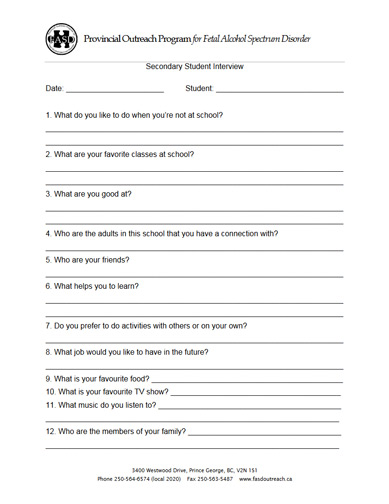 Secondary Student Interview Form