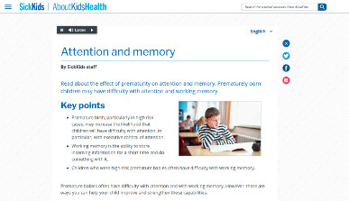 SickKids - Attention and Memory