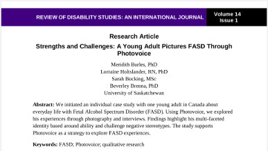 Strengths and Challenges: A Young Adult Pictures FASD Through Photovoice