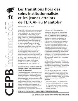 Les transitions hors des soins institutionnalisés et les jeunes atteints de l'ETCAF au Manitoba